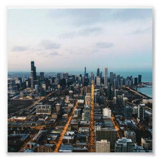 Het luchtuitzicht van Chicago Foto Afdrukken