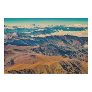 Het LuchtUitzicht van de Bergen van de Andes, Hout Afdruk