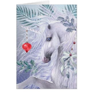 Het LuxeWenskaart van de Eenhoorn van Kerstmis Briefkaarten 0