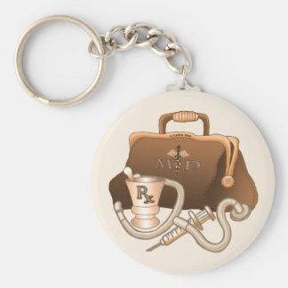 Het M.D. Fundamentele Ronde Keychain van de arts Basic Ronde Button Sleutelhanger