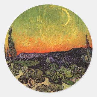 Het Maanbeschenen Landschap van Vincent van Gogh Ronde Sticker