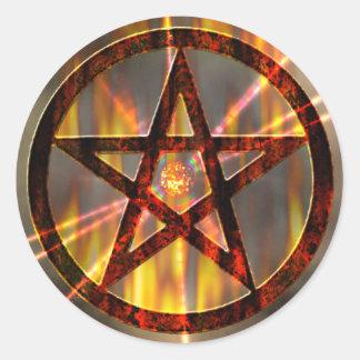 Het magische Branden Pentagram Ronde Sticker