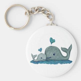 Het Mamma en het Baby die van de walvis in het Zee Sleutelhanger