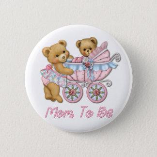 Het Mamma en het Vervoer van de teddybeer - Roze Ronde Button 5,7 Cm