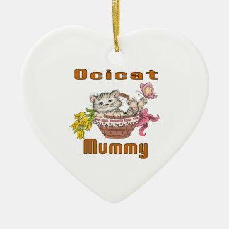 Het Mamma van de Kat van Ocicat Keramisch Hart Ornament