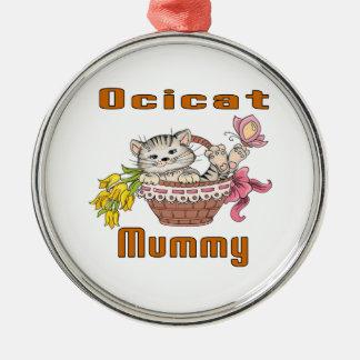 Het Mamma van de Kat van Ocicat Zilverkleurig Rond Ornament