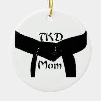 Het Mamma van het Zwarte band TKD van vechtsporten Rond Keramisch Ornament