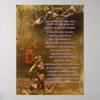 """Het """"man in de arena"""" Theodore Roosevelt Poster"""