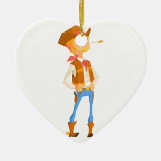 Het man kleedde zich als Cowboy met een Stro in Keramisch Hart Ornament