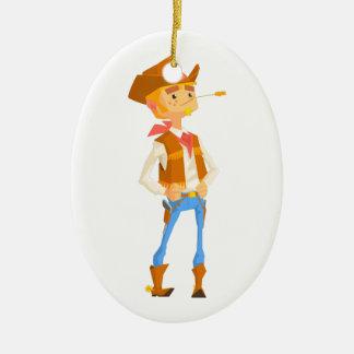 Het man kleedde zich als Cowboy met een Stro in Keramisch Ovaal Ornament