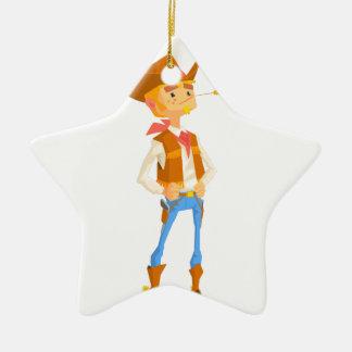 Het man kleedde zich als Cowboy met een Stro in Keramisch Ster Ornament
