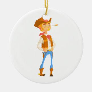 Het man kleedde zich als Cowboy met een Stro in Rond Keramisch Ornament