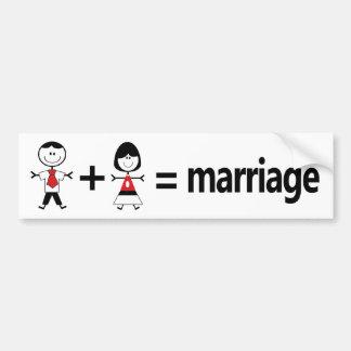 Het man plus Vrouw evenaart Huwelijk Bumpersticker