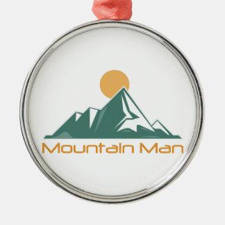 Het Man van de berg Zilverkleurig Rond Ornament