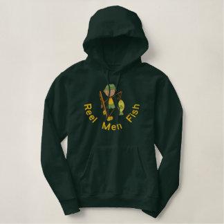 Het Man van de spoel vist Geborduurde Sweater Hoodie