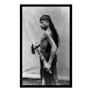 Het Man van Dyak met Wapen in Singapore 1899 Poster