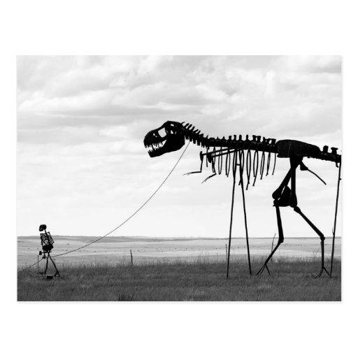 Het man van het skelet het lopen skeletdinosaurus, wenskaarten