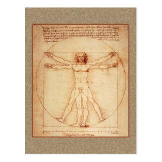 Het Man van Vitruvian door Leonardo da Vinci Briefkaart