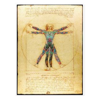 Het man van Vitruvian van da Vinci met tattoos Briefkaart