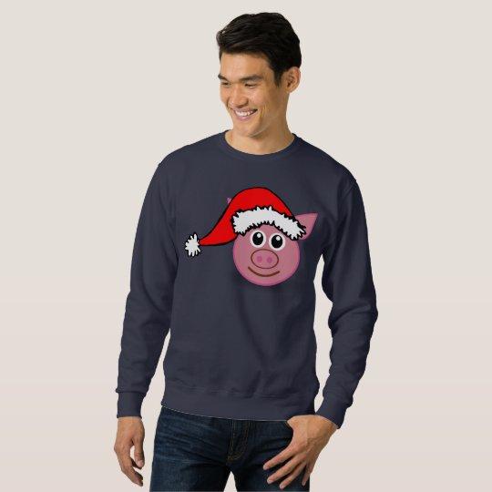 het mannen sweatshirt van het Kerstmisvarken