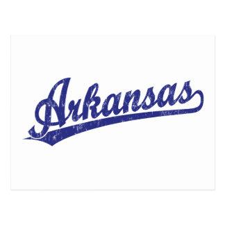 Het manuscriptlogo van Arkansas in blauw Briefkaart