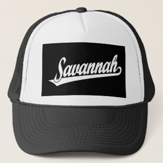 Het manuscriptlogo van de savanne in wit trucker pet