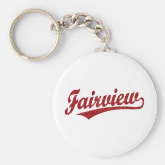 Het manuscriptlogo van Fairview in rood Basic Ronde Button Sleutelhanger