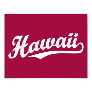 Het manuscriptlogo van Hawaï in verontrust wit 10,8x13,9 Uitnodiging Kaart