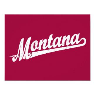 Het manuscriptlogo van Montana in verontrust wit 10,8x13,9 Uitnodiging Kaart