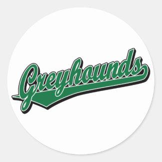 Het manuscriptlogo van windhonden in groen sticker