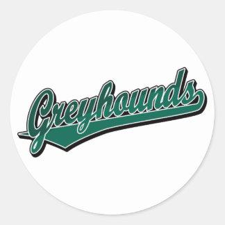 Het manuscriptlogo van windhonden in groene toon 2 ronde stickers
