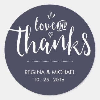 Het marineblauwe Elegante Huwelijk van het Ronde Sticker