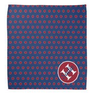 Het marineblauwe en Rode Monogram van de Stip Bandana