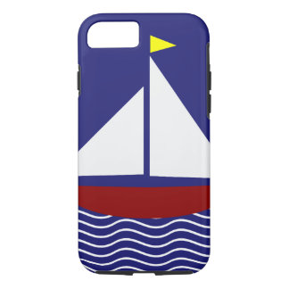 Het marineblauwe en Rode Ontwerp van de Zeilboot iPhone 8/7 Hoesje