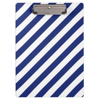Het marineblauwe en Witte Diagonale Patroon van Klembord