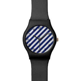 Het marineblauwe en Witte Diagonale Patroon van Polshorloge
