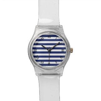 Het marineblauwe en Witte Patroon van de Streep Horloge