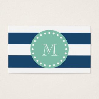 Het marineblauwe Patroon van Strepen, het Groene Visitekaartjes