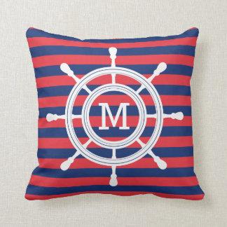 Het marineblauwe & Rode Monogram van de Leidraad Sierkussen