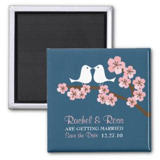 Het marineblauwe & Roze Huwelijk van de Lente van Vierkante Magneet
