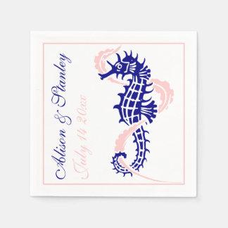 Het marineblauwe, roze huwelijk van Seahorse en Papieren Servet