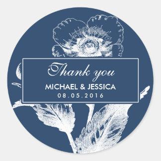 Het marineblauwe Vintage Huwelijk van de Bloem Ronde Sticker