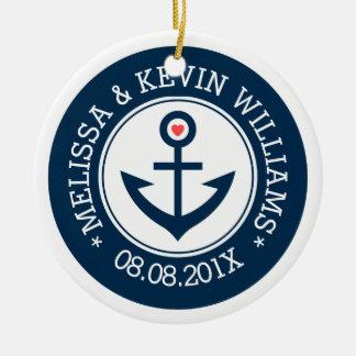 Het marineblauwe & Witte Anker van de Boot van het Rond Keramisch Ornament