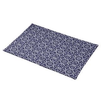 Het marineblauwe & Witte Patroon Placemats van het