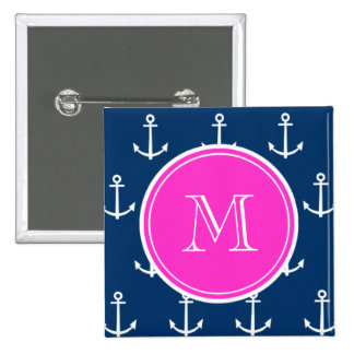 Het marineblauwe Witte Patroon van Ankers, Heet Ro Vierkante Button 5,1 Cm