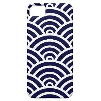 Het marineblauwe & Witte Patroon van de Kammossel Barely There iPhone 5 Hoesje