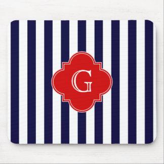 Het marineblauwe Witte Rode Monogram Quatrefoil Muismatten