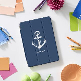Het marineblauwe Zeevaart Gepersonaliseerde Anker iPad Pro Hoesje
