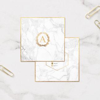 Het Marmer van PixDezines+Gouden Monogram DIY Faux Vierkante Visitekaartjes