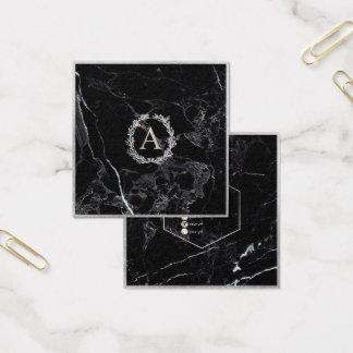 Het Marmer van PixDezines+Zilveren Monogram DIY Vierkante Visitekaartjes